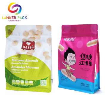 Moisture Proof Zipper Flat Bottom Plastic Snack Bags