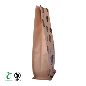 white kraft food gift popcorn paper bag with clear window