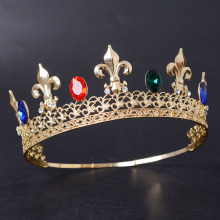 Gold Plated Colorful Diamond Rhinestone Baroque Crown