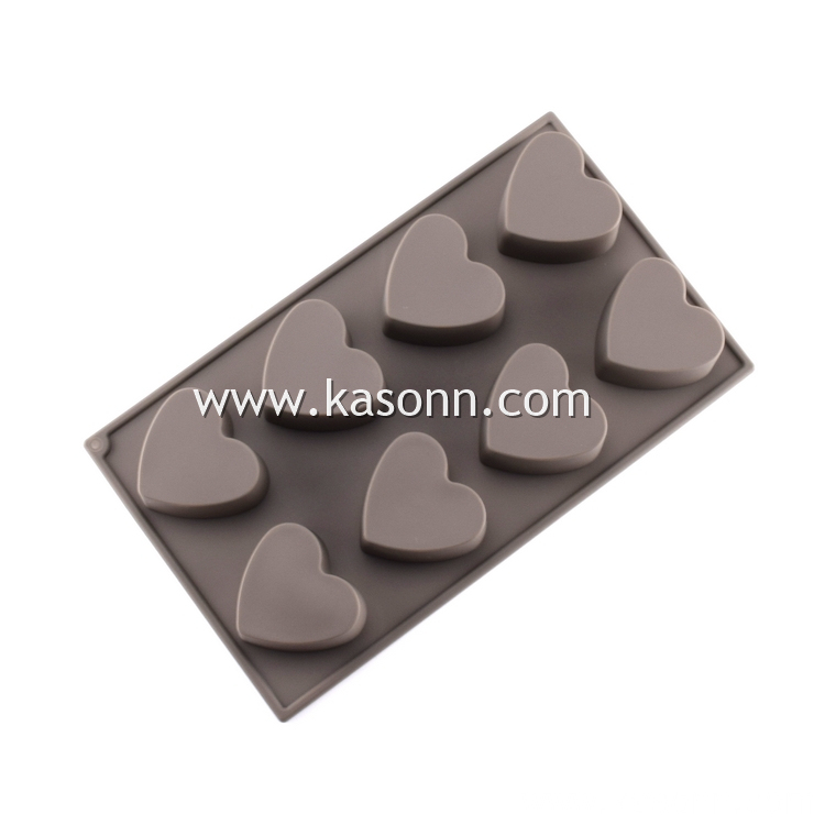 8 Cavity Heart Silicone Bread Cookie Chocolate Molds