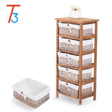 Tri-tiger small solid wood furniture cabinet Paulownia + wicker