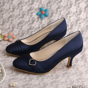 Hot selling attractive price for Women Shoes Genuine Leather Closed Toe Navy Satin Shoes for Wedding supply to Italy Wholesale