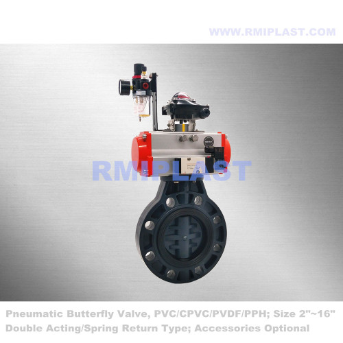 PP Butterfly Valve Pneumatic Operate PN10