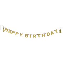 Gold Happy birthday party bunting banner