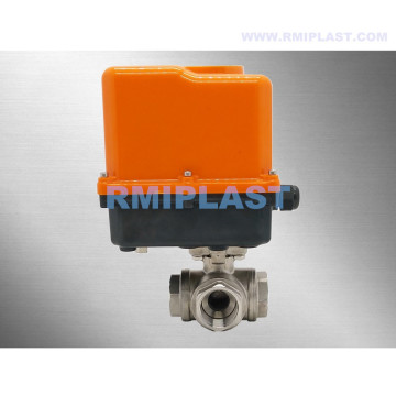 Three Way Ball Valve L port with motorized actuator