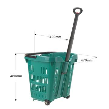 plastic supermarkets shopping trolley basket with 2 wheels