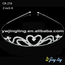 Small Heart Bridal Tiaras Rhinestone Crowns