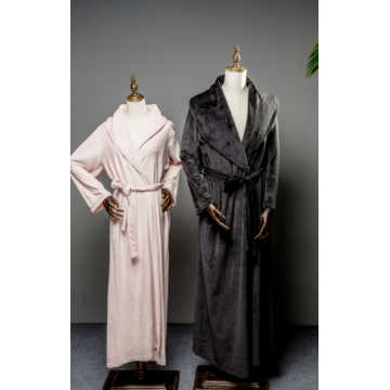 Black warm island fleece long robe for couple