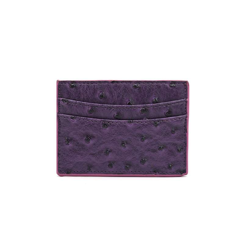 New Design Exotic Genuine Ostrich Leather Card Holder