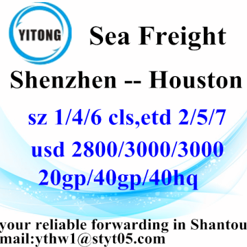 Shenzhen Professinal Ocean Freight Services from to Houston