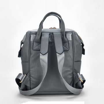 Leather casual style large capacity backpack