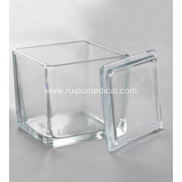 Glass staining jar with glass lid for 30pcs Microscope slide