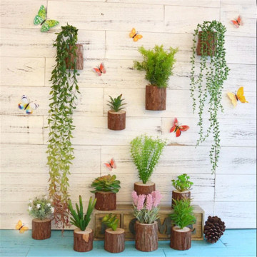 Stump Flowerpot Wooden  Wall Hanging Decoraiton