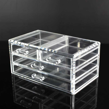 Europe style for Acrylic Cosmetic Organizer 4 Drawer Clear Acrylic Desk Cube Makeup Organizer supply to Netherlands Manufacturer