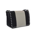 Fashion Cow Leather Matching Rivet Crossbody Satchel Bags