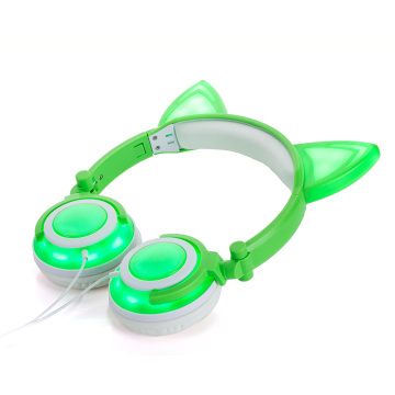 Soft Skin Cat Ear Headphone Protein glowing Headphones