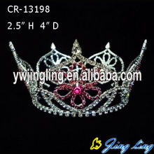 Rhinestone Flower Full Round Princess Crowns For Girls