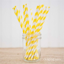 Custom yellow and white striped straws