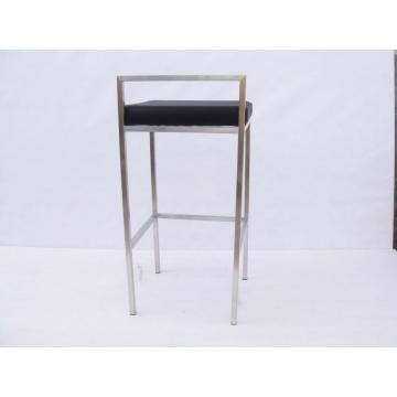 leather bar chair in stainless steel