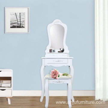 3 Drawer Vanity Table Set Dressing Table with Cushioned Stool Makeup Table