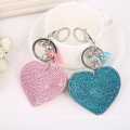 Heart Shaped Rhinestone Leather Keychain With Tassel Pendant