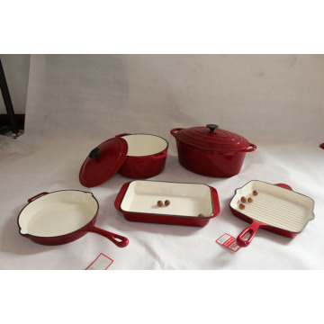 7pcs Enameled Cast Iron Cookware Set for cooking