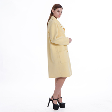 New styles yellow cashmere winter coat
