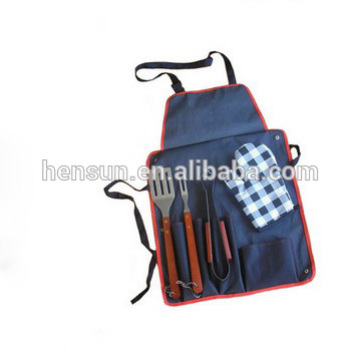 Stainless Steel Barbecue Cooking Utensil Set with Apron