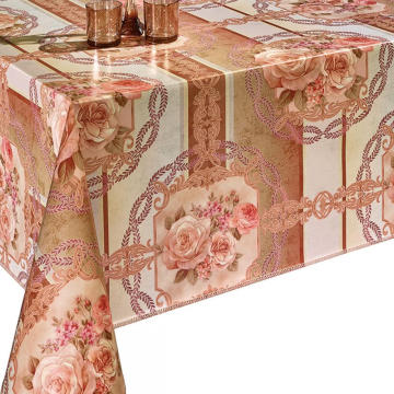 Pvc Printed fitted table covers Yellow