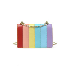 Striped rainbow candy color shoulder bag handbag