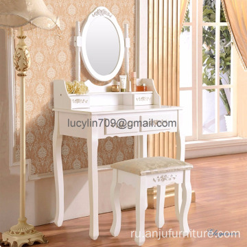Vanity Makeup Table Set Dressing Table with 4 Drawers/ Stool White