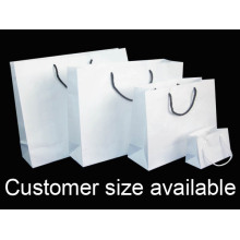 Nylon rope handle hand white paper bag