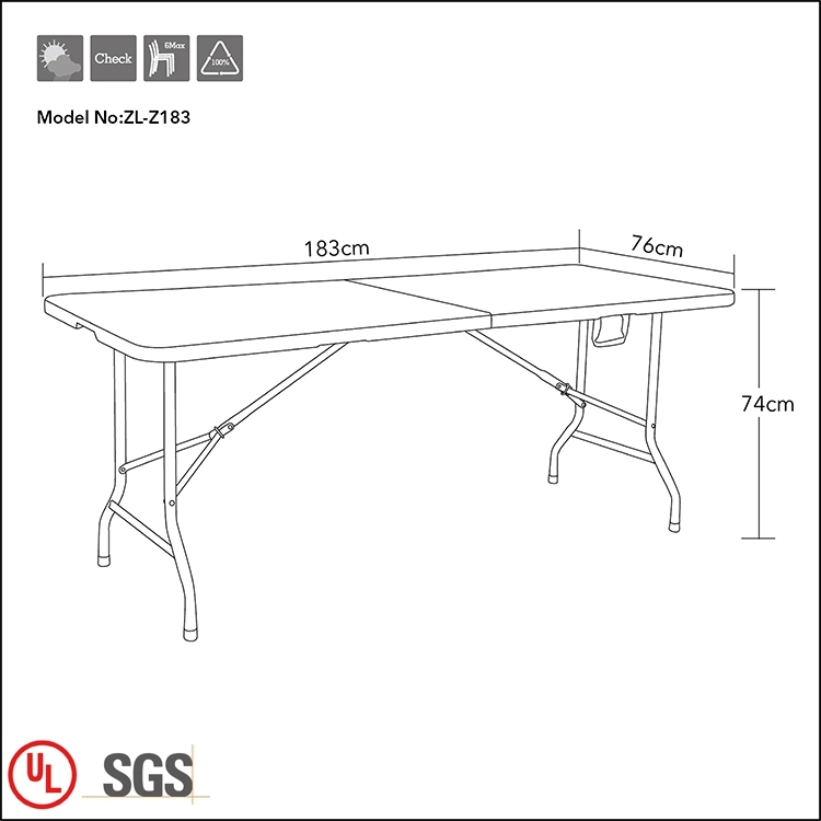 6 Foot Plastic Folding Lightweight and Portable Table