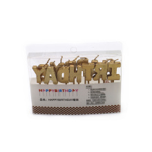 Paraffin Wax Gold Metallic Letter cake kaars