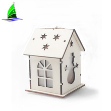 Christmas led lights wooden house decoration
