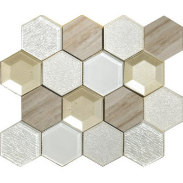 3D 3 color mix hexagon mosaic