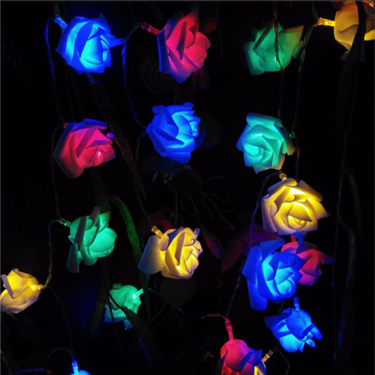 rose flower christmas led string light