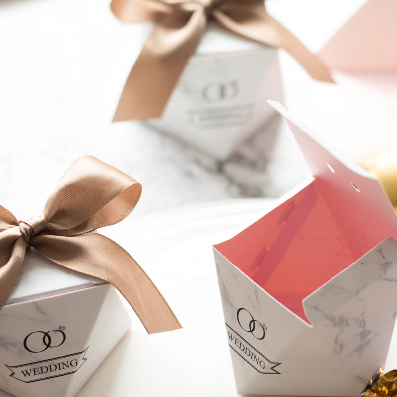 Diamond shape wedding candy paper box