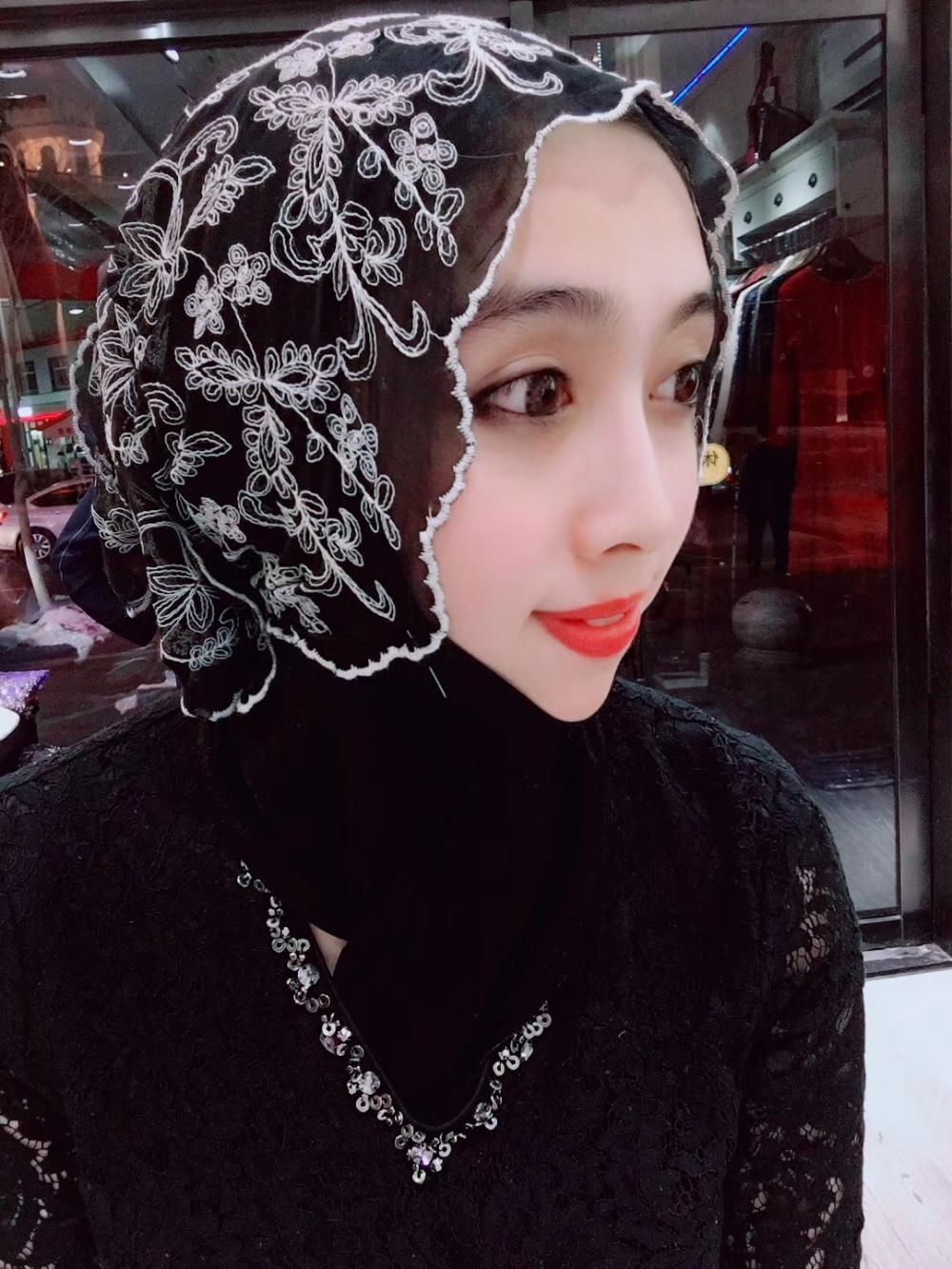 Black Head Scarf with wave edges
