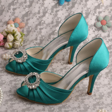 China Exporter for Evening Shoes,Italian Bridal Party Shoes,Women Shoes Genuine Leather Manufacturers and Suppliers in China Customized Satin Teal Wedding Shoes Prom Open Toe export to Russian Federation Manufacturer