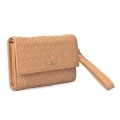 Trendy Weave Leather Wallet Lady Purse With Wristle
