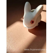 Factory best selling for Stone Owl Statue White jade rabbit carvings supply to Germany Manufacturer