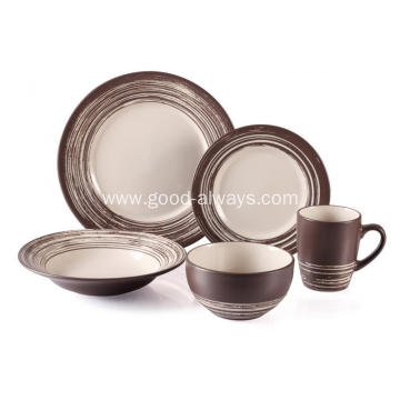 Stoneware Dinnerware Set , Brown With Scratch Mark