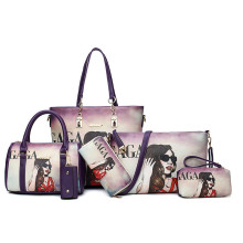 Graffiti pattern young fashion set backpack handbag