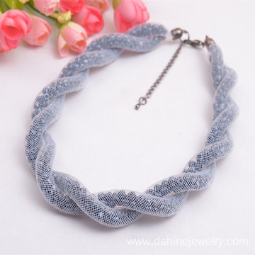 Silver Plated Nylon Mesh Crystal Beads Collar Necklace