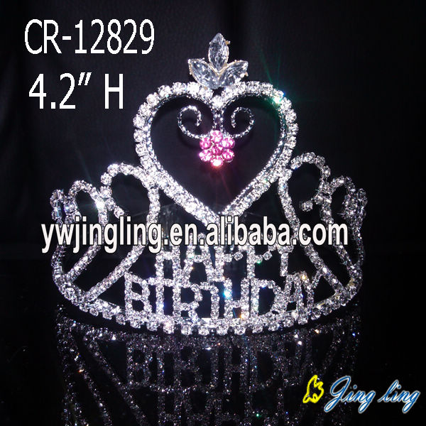 Wholesale Heart Shape Rhinestone Pageant Crowns For Sale