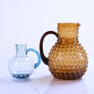 Hand Made Amber Bubbles Water Glass Pitcher Set