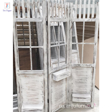 Garden white 3 Panel Folding Screen shabby wooden Room Dividers