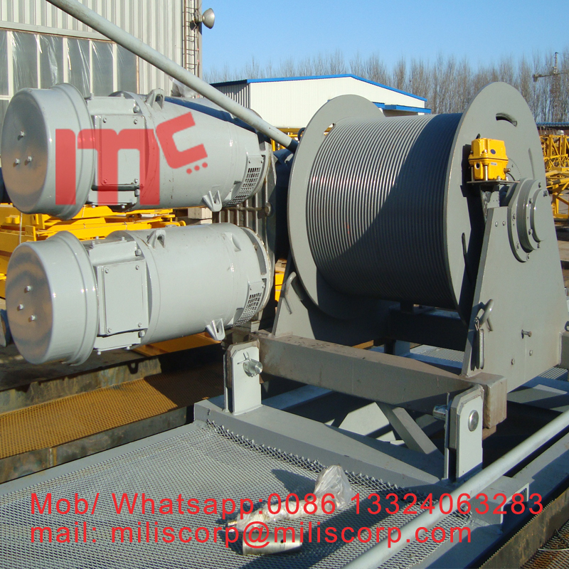 Tower crane hoist winch