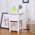 Modern Bedside Table White Night Stand Wooden Cabinet Storage Organizer With Drawer Basket